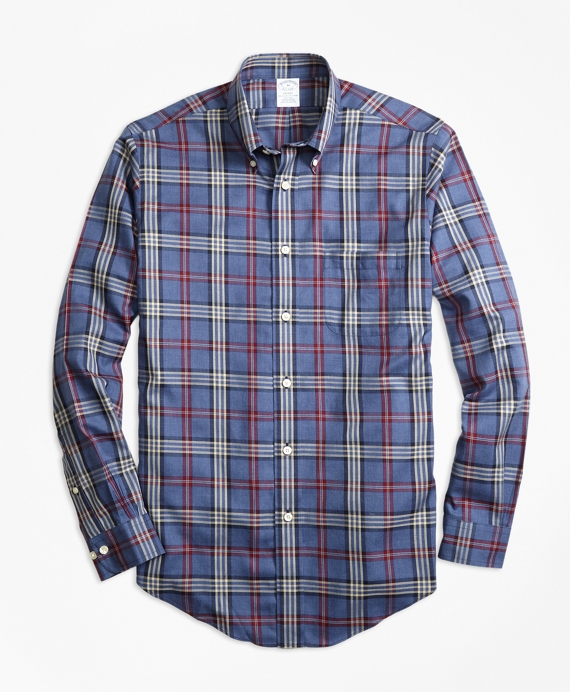 Non-Iron Regent Fit Signature Tartan Sport Shirt Blue