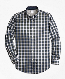 Regent Fit Heather Lined Tartan Sport Shirt