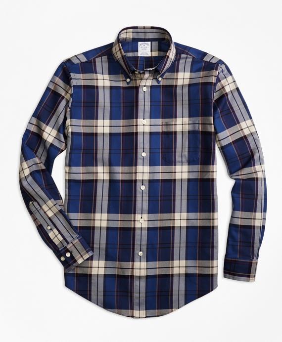 Non-Iron Regent Fit Bold Plaid Sport Shirt Blue