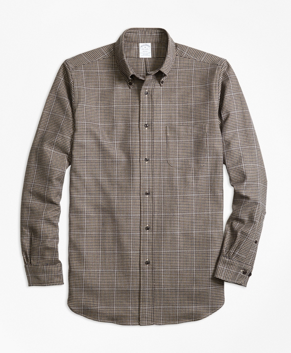 Regent Fit Saxxon™ Wool Houndstooth Sport Shirt Brown