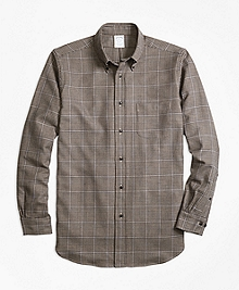Regent Fit Saxxon Wool Houndstooth Sport Shirt
