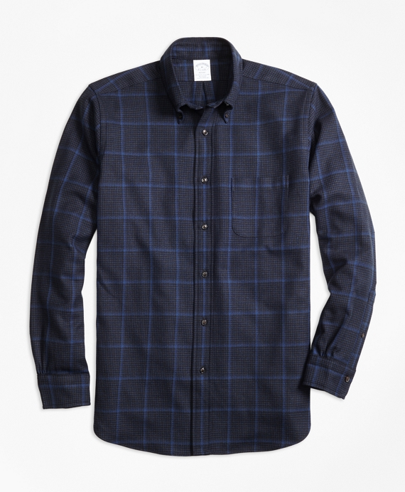 Regent Fit Saxxon™ Wool Windowpane Sport Shirt by Brooks Brothers