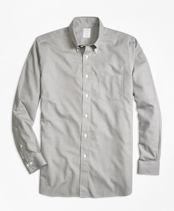 Regent Fit Cotton Cashmere Glen Plaid Sport Shirt Grey