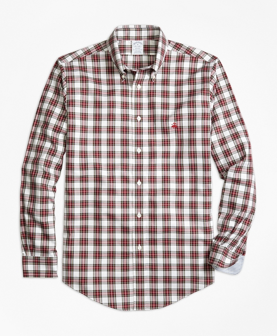 Non-Iron Regent Fit Dress Stewart Tartan Sport Shirt White-Red