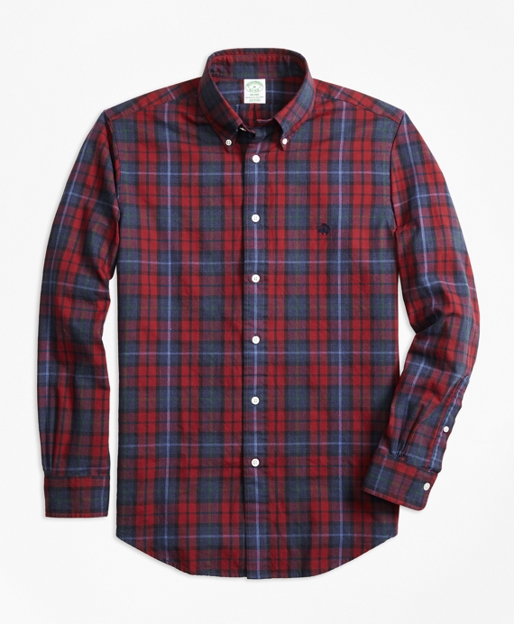 Milano Fit Yarn-Dyed Oxford Plaid Sport Shirt