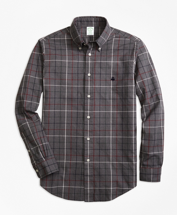 Milano Fit Yarn-Dyed Oxford Windowpane Sport Shirt Grey