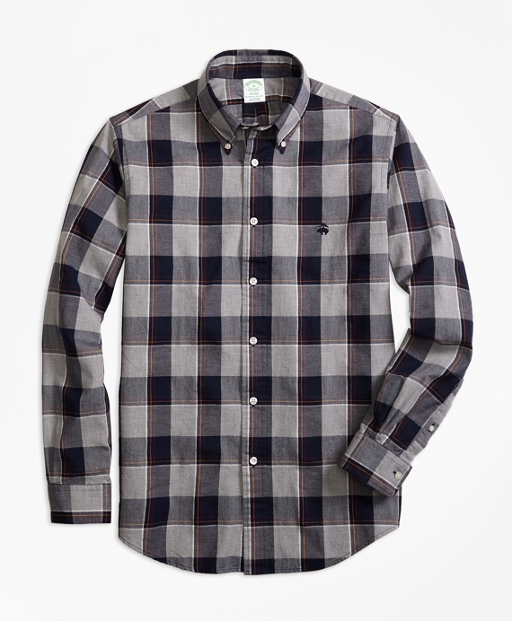 Milano Fit Yarn-Dyed Oxford Grey Plaid Sport Shirt Grey-Navy