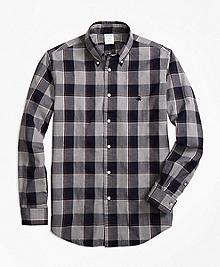 Milano Fit Yarn-Dyed Oxford Grey Plaid Sport Shirt