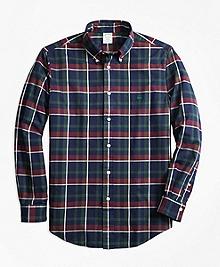 Milano Fit Yarn-Dyed Oxford Navy Plaid Sport Shirt