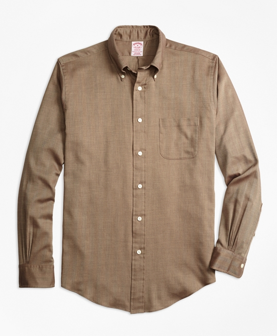 Madison Fit Cotton Cashmere Herringbone Sport Shirt Camel-Brown