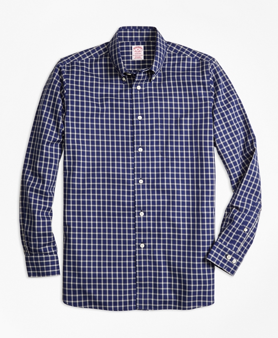 Madison Fit Cotton Cashmere Windowpane Sport Shirt Blue