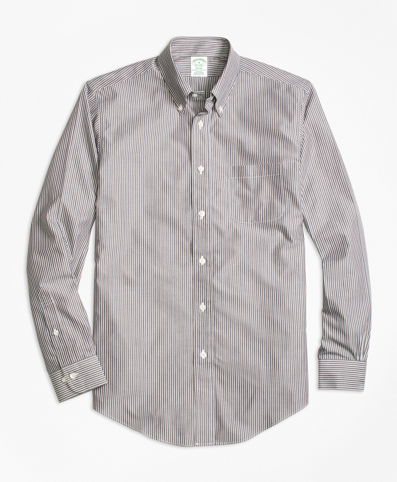 Non-Iron Milano Fit Stripe Sport Shirt Brown