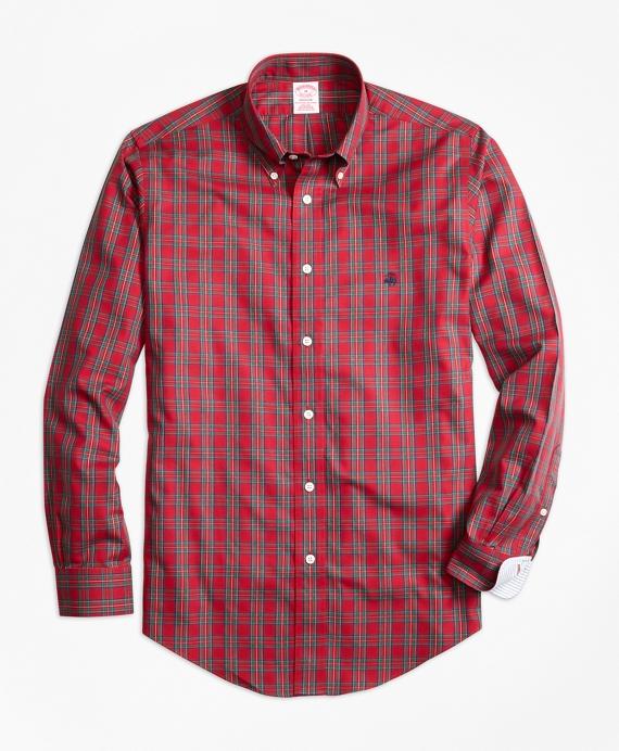 Non-Iron Madison Fit Prince Charles Edward Stewart Tartan Sport Shirt Red