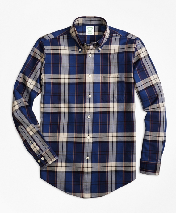 Non-Iron Milano Fit Bold Plaid Sport Shirt Blue