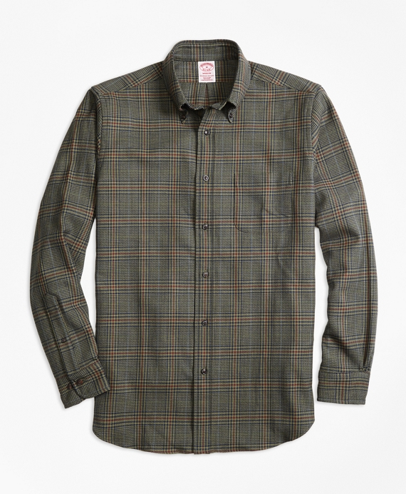 Madison Fit Saxxon™ Wool Glen Plaid Sport Shirt Olive