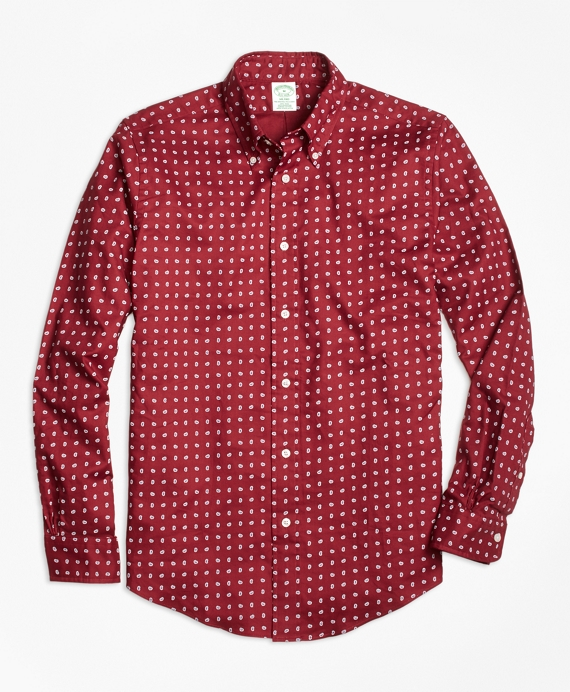 Milano Fit Printed Paisley Sport Shirt Red