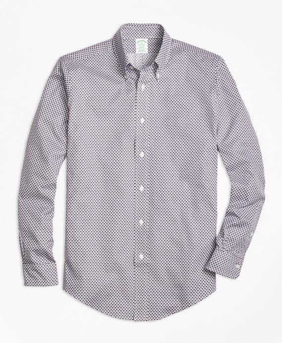 Milano Fit Micro-Golden Fleece® Printed Sport Shirt Navy