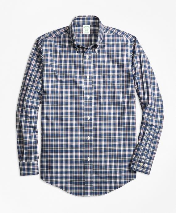 Non-Iron Milano Fit Multi-Check Sport Shirt Blue