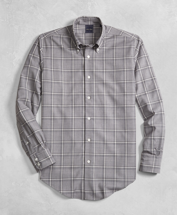 Golden Fleece® BrooksTech™ Regent Fit Yarn-Dyed Windowpane Sport Shirt Light Grey