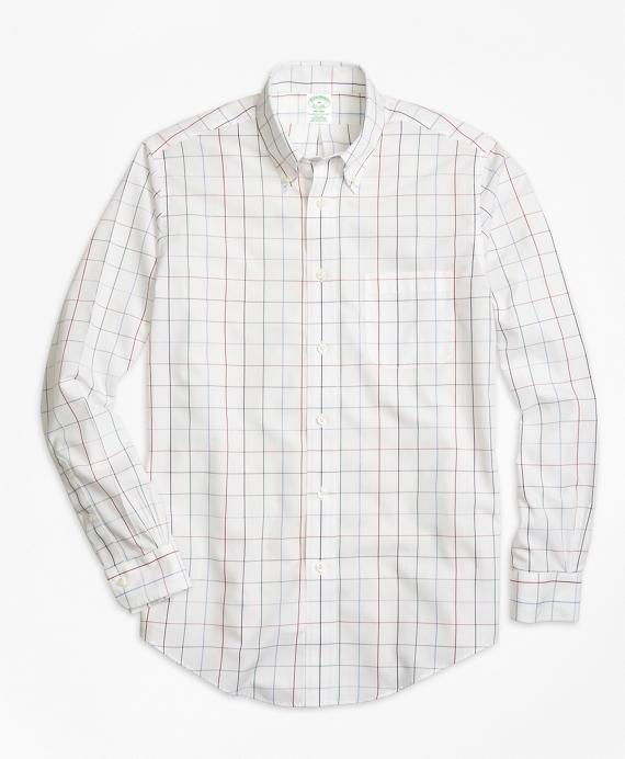 Non-Iron Milano Fit Windowpane Sport Shirt White