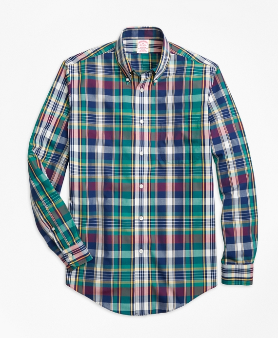 Non-Iron Madison Fit Green Bold Plaid Sport Shirt Green-Navy