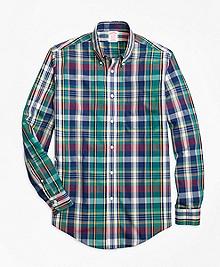 Non-Iron Madison Fit Green Bold Plaid Sport Shirt