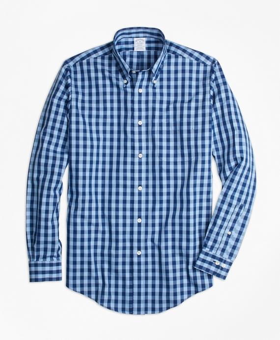 Non-Iron Regent Fit Gingham Sport Shirt Navy