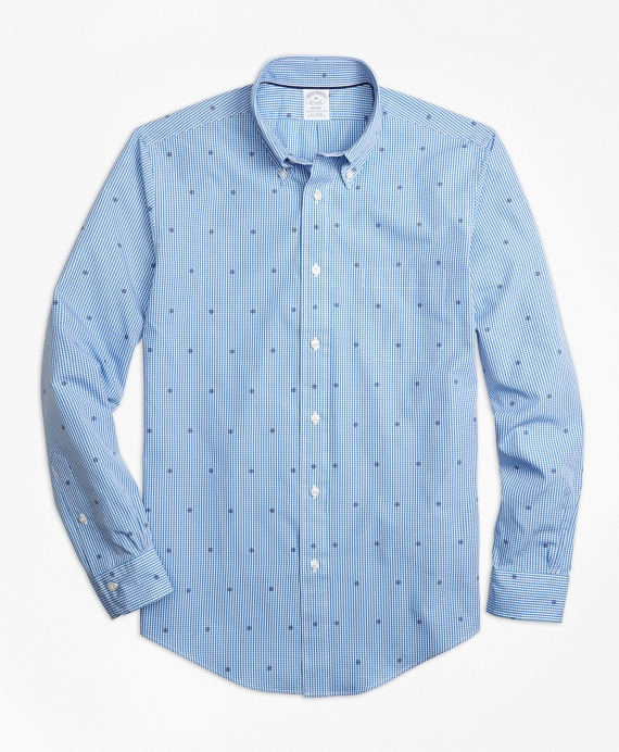 Regent Fit Gingham with Ship's Wheel Print Sport Shirt Blue