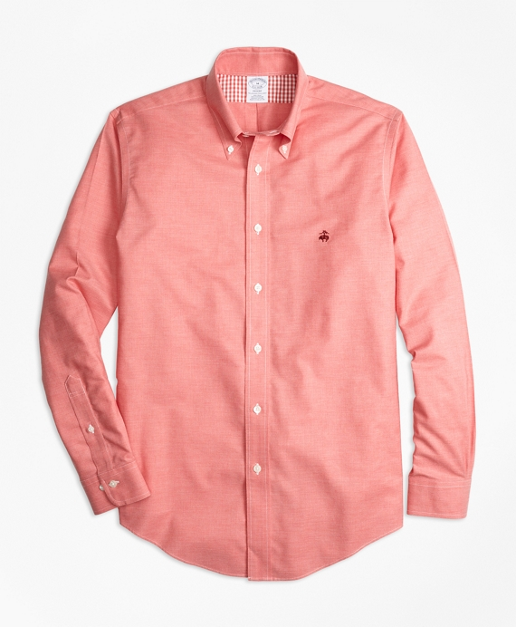Non-Iron Regent Fit Heathered Oxford Sport Shirt Red