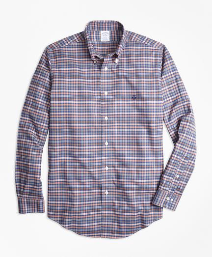 Non-Iron Regent Fit Heathered Multi-Plaid Sport Shirt