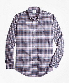 Non-Iron Regent Fit Heathered Multi-Plaid Sport Shirt