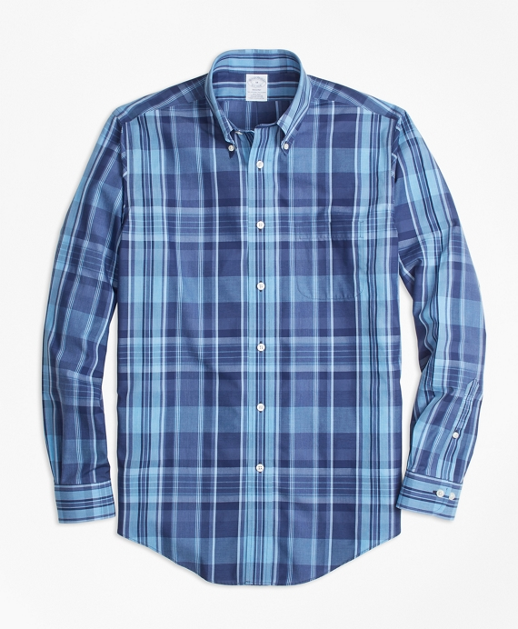 Non-Iron Regent Fit Madras Sport Shirt Blue