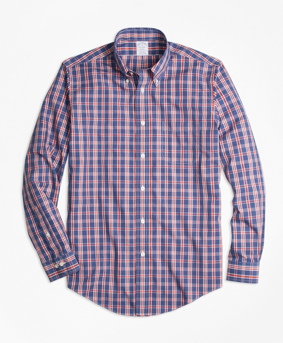 Non-Iron Regent Fit Check Sport Shirt Navy-Red