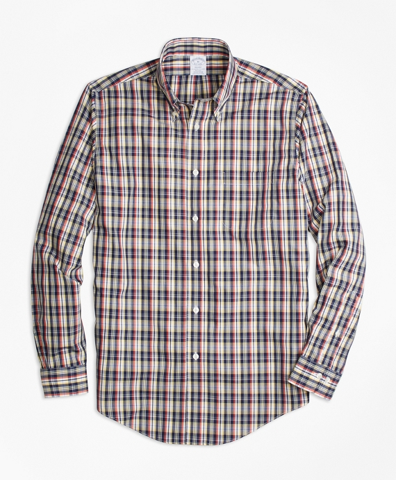 Non-Iron Regent Fit Mini-Madras Sport Shirt Multi