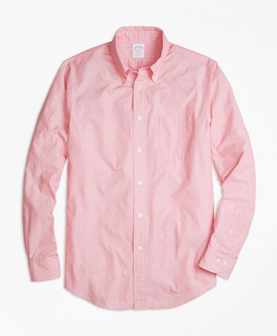 Regent Fit Star Jacquard Sport Shirt Red