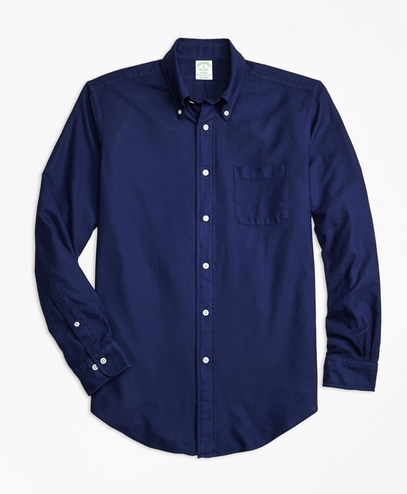 Milano Fit Garment-Dyed Textured Sport Shirt Dark Blue
