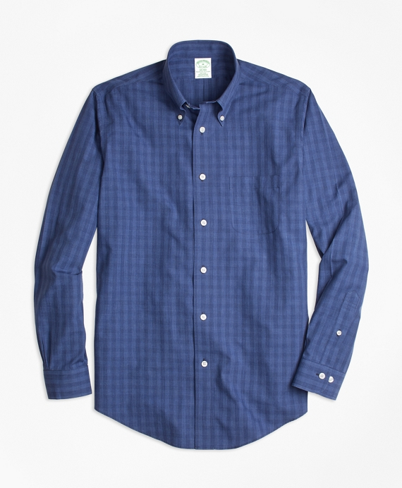 Non-Iron Milano Fit Windowpane Sport Shirt Navy