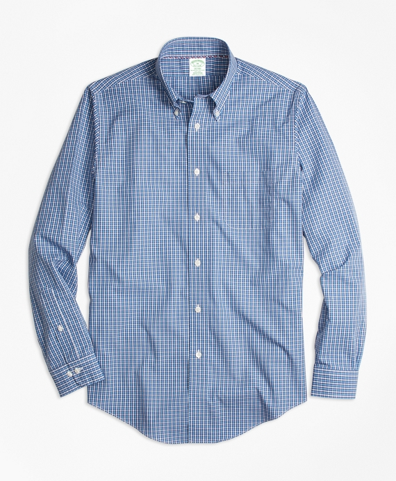 Non-Iron Milano Fit Blue Mini-Check Sport Shirt Blue