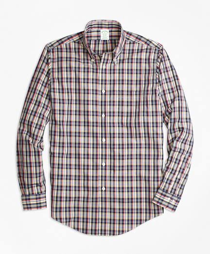 Non-Iron Milano Fit Mini-Madras Sport Shirt