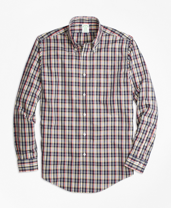 Non-Iron Milano Fit Mini-Madras Sport Shirt Multi
