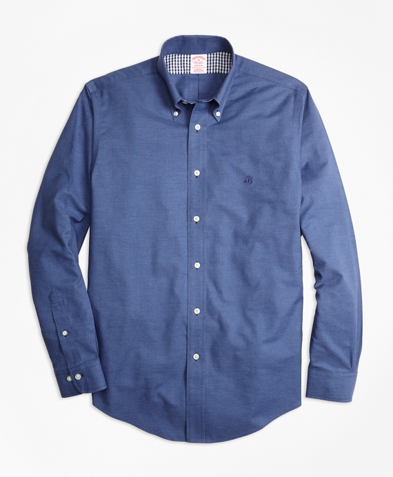 Non-Iron Madison Fit Heathered Oxford Sport Shirt Navy