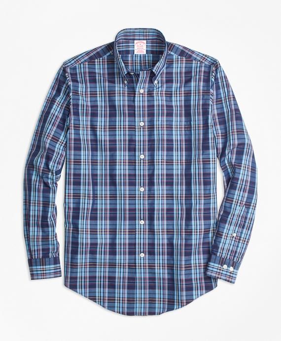 Non-Iron Madison Fit Multi-Plaid Sport Shirt Blue