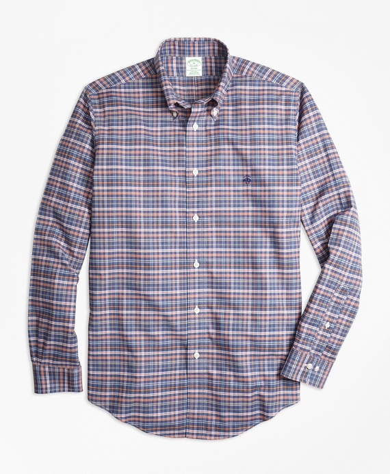 Non-Iron Milano Fit Heathered Multi-Plaid Sport Shirt