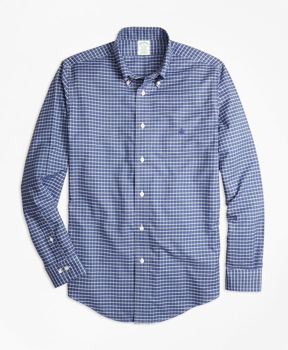 Non-Iron Milano Fit Heathered Tattersall Sport Shirt Navy