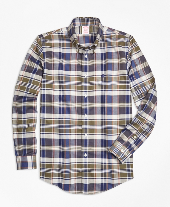Non-Iron Madison Fit Multi-Plaid Sport Shirt Multi