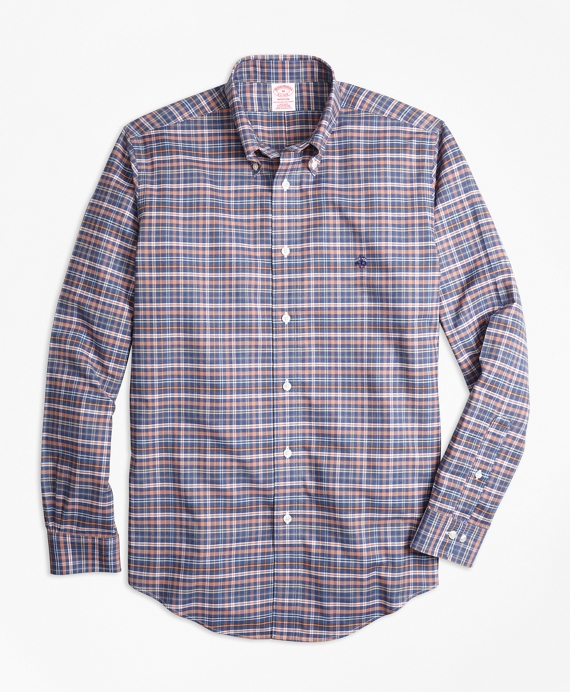 Non-Iron Madison Fit Heathered Multi-Plaid Sport Shirt