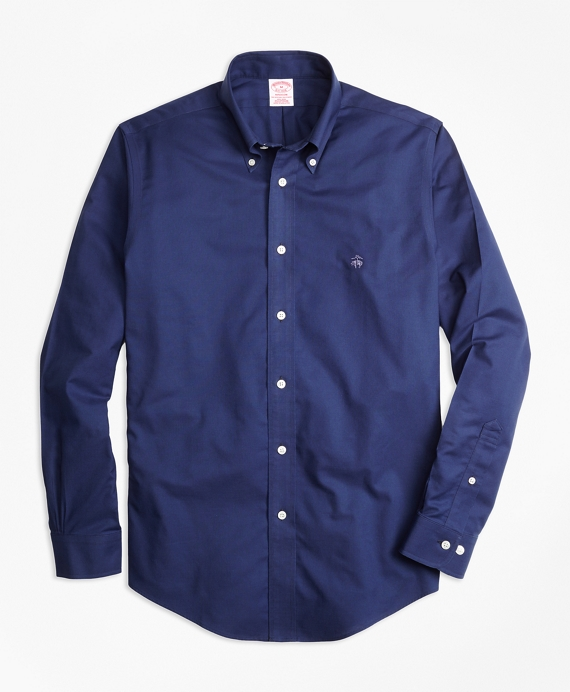 Non-Iron Madison Fit Warp Weft Oxford Sport Shirt Dark Blue