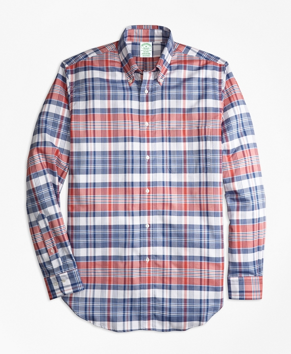 Milano Fit Oxford Madras Plaid Sport Shirt Red-Blue