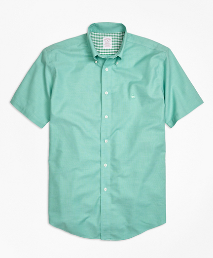 Non-Iron Madison Fit Heathered Oxford Short-Sleeve Sport Shirt