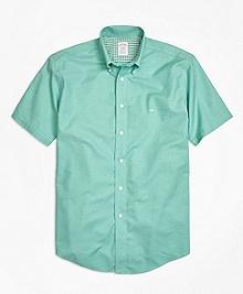 Non-Iron Madison Fit Heathered Oxford Short-Sleeve Sport Shirt